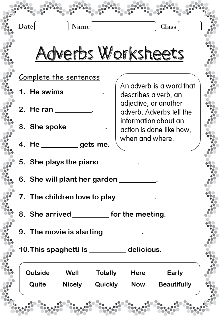 Adverbs worksheets forgrade 2 Your Home Teacher