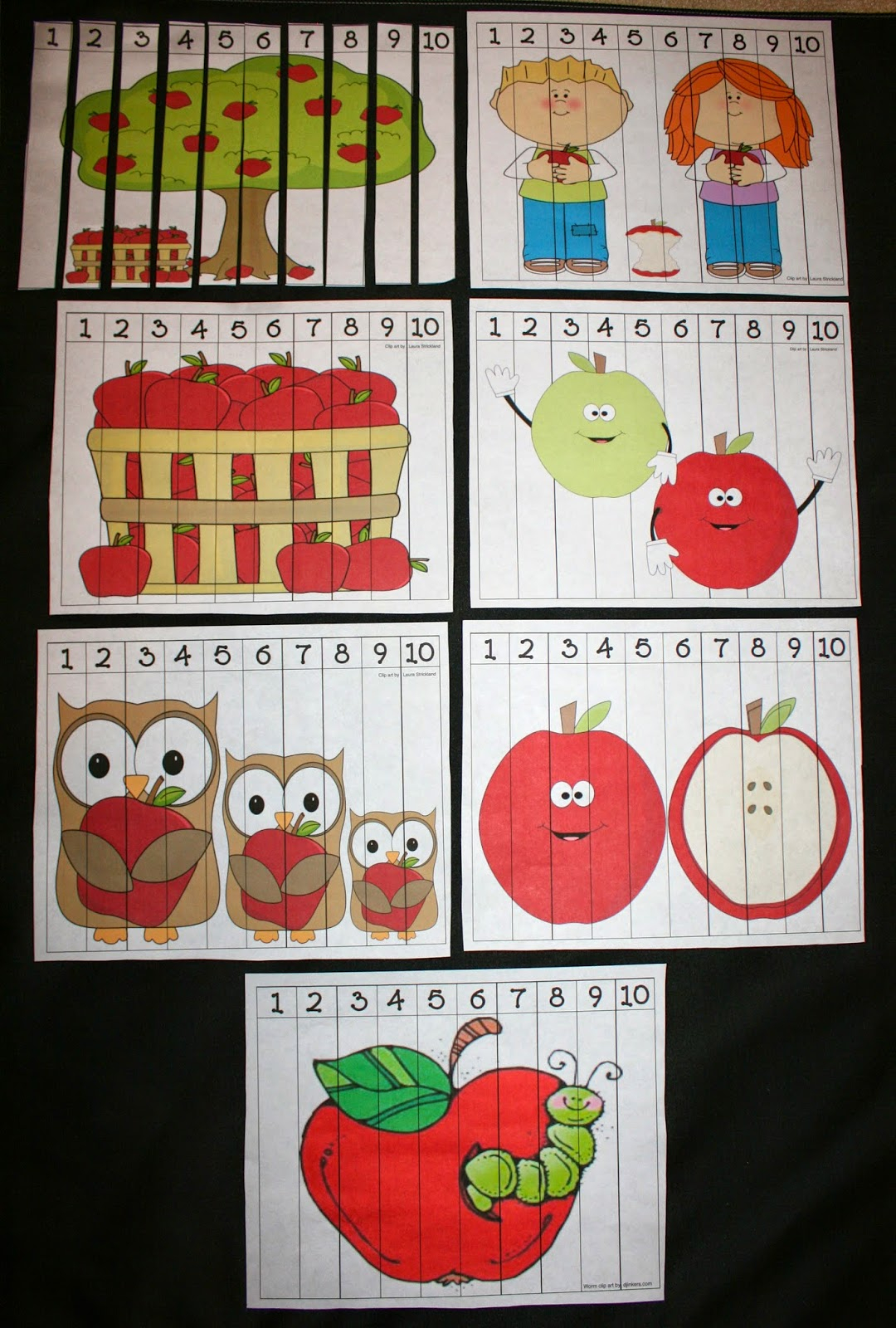 Apple Number Puzzles Classroom Freebies