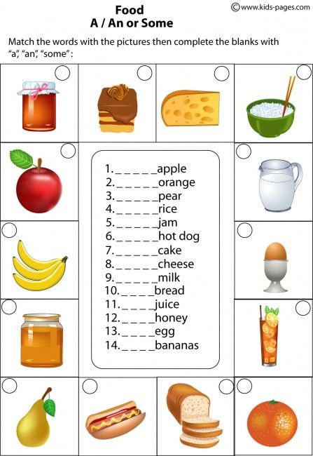 Food A An Some Worksheet Kids English Learn English