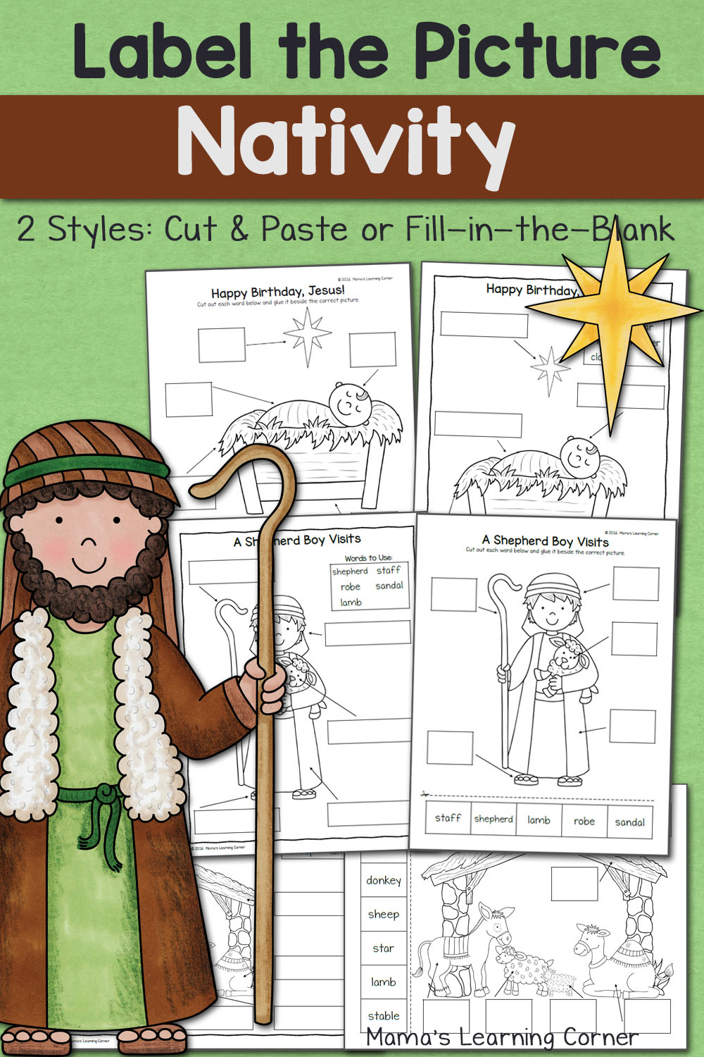 Nativity Label The Picture Worksheets Mamas Learning Corner