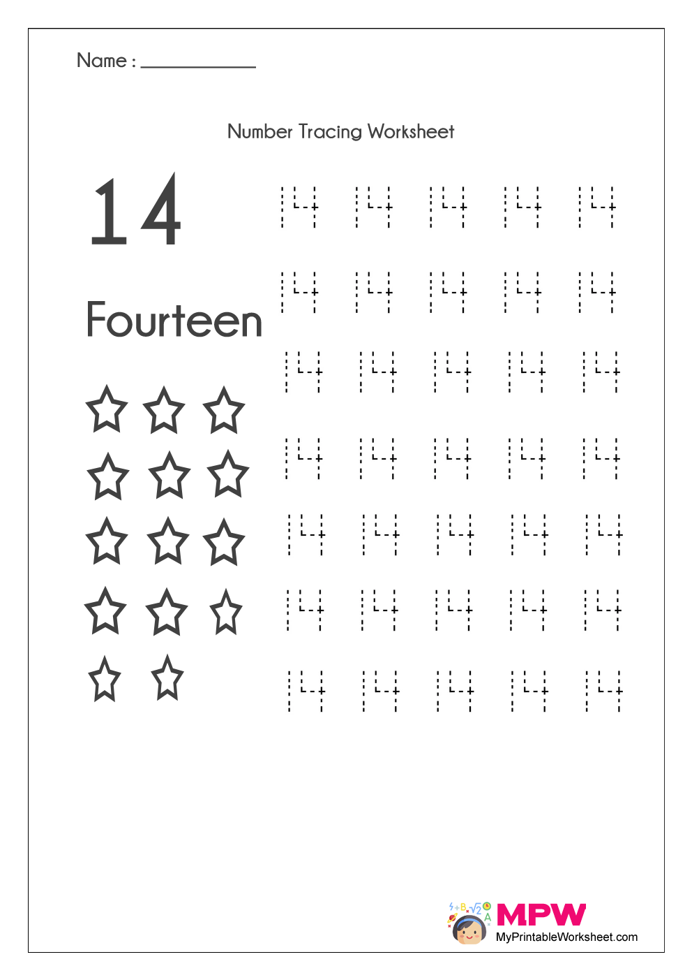 Number Tracing Worksheets 1 20 Dotted Line Number Tracing