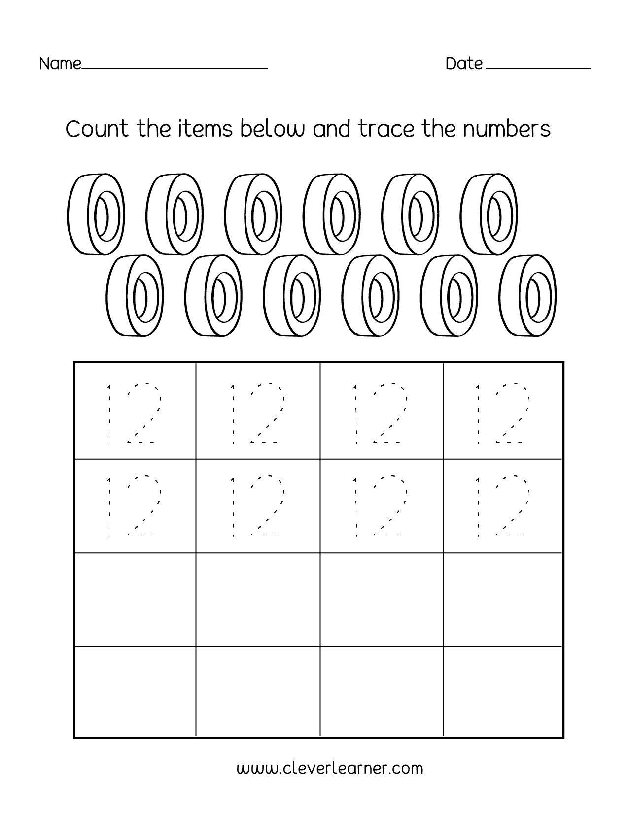 Number Twelve Writing Counting And Identification