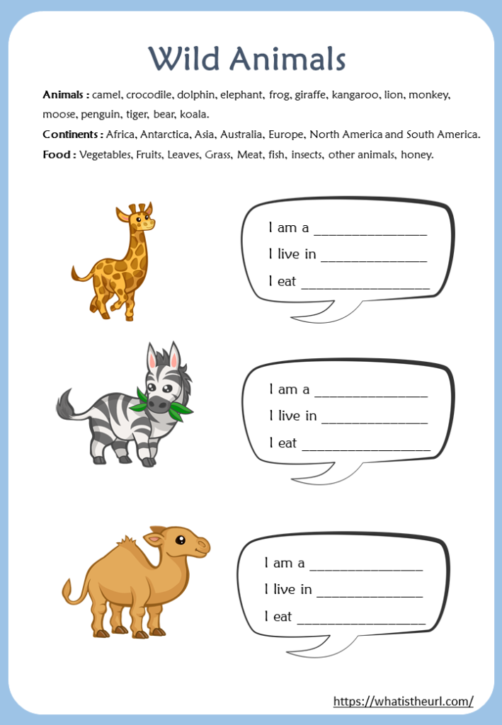 Wild Animals Worksheets For Kids Your Home Teacher