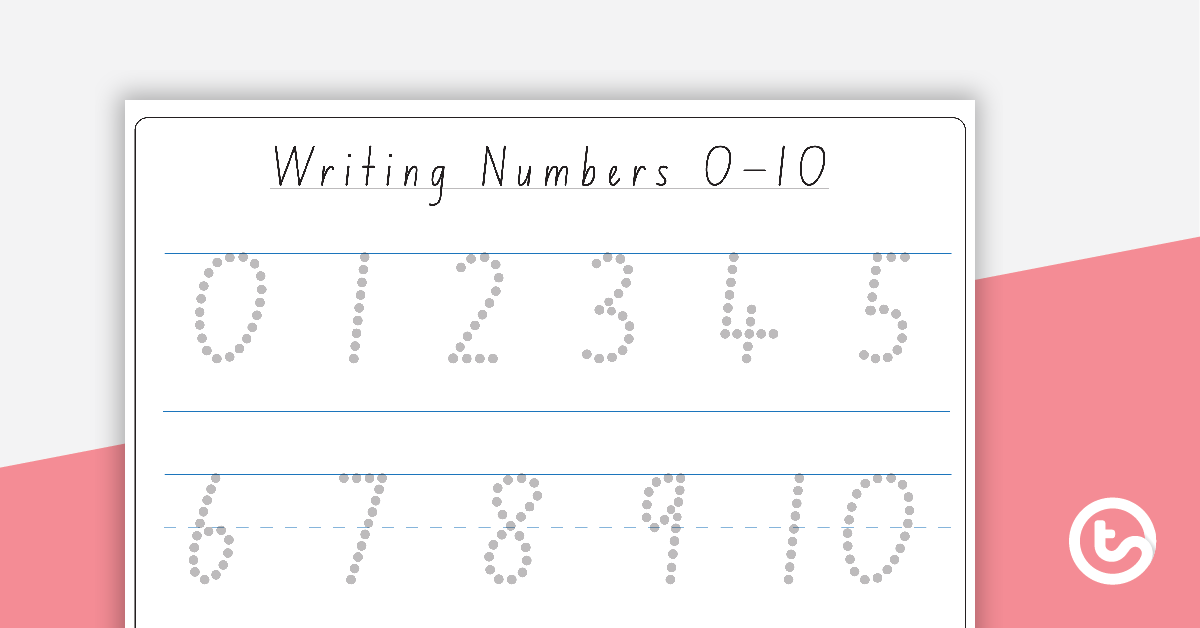 Writing Numbers 0 10 Dotted Font Teaching Resource